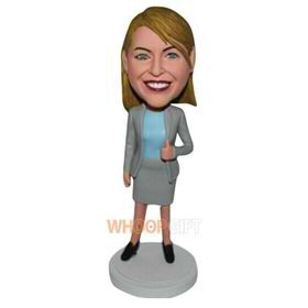 office lady in grey suit custom bobblehead