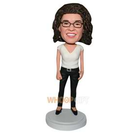 curly hair woman in white shirt custom bobblehead