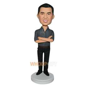 man in dark grey T-shirt matching with black pants custom bobblehead