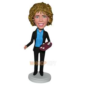 curly hair woman in black suit custom bobblehead