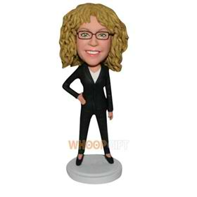 yellow curly hair woman in black suit custom bobblehead