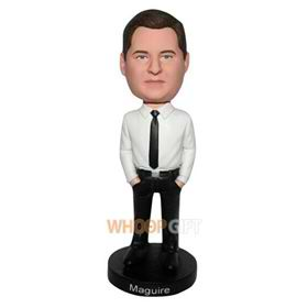 serious man in white shirt matching with black pants custom bobblehead