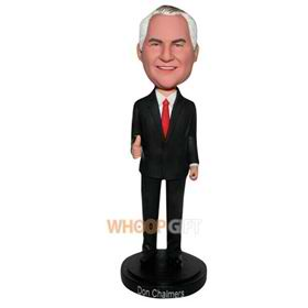 business man in black suit matching with red tie custom bobblehead