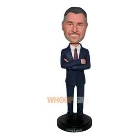 business man in blue suit custom bobblehead