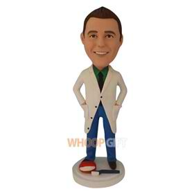 male dentist in white coat custom bobblehead