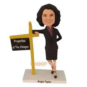 female proffesor in black suit custom bobblehead