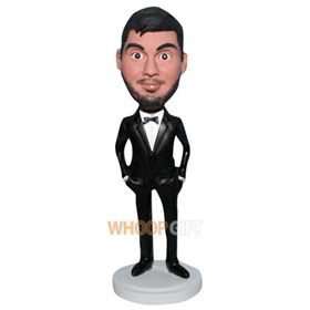beard groomsmaid in black suit custom bobblehead