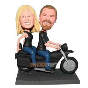 husband and wife taking a motorcycle custom bobblehead