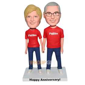 husband and wife are all in red shirt custom bobblehead