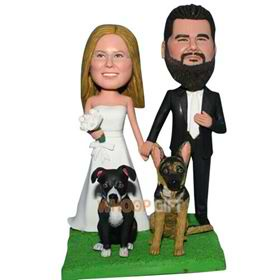 groom in black suit and bride in white wedding dress with their pet dogs custom bobblehead