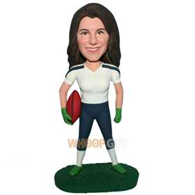 female football player in sports wear custom bobblehead
