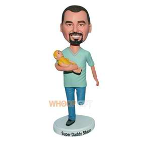 super daddy carrying a baby custom bobblehead