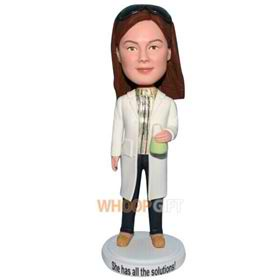 beautiful young lady in white coat custom bobblehead