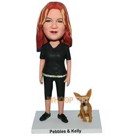 red hair woman in black suit with her pet dog custom bobblehead