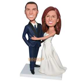 groom in blue suit and bride in white wedding dress custom bobblehead