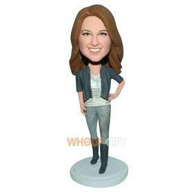 fashion lady in grey coat custom bobblehead