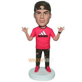 man in rose shirt matching with green pants custom bobblehead