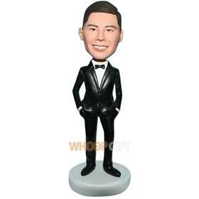 groomsmaid in black suit custom bobblehead