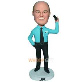 man in blue T-shirt matching with black pants cuatom bobblehead
