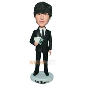 man in black suit handing with money custom bobblehead