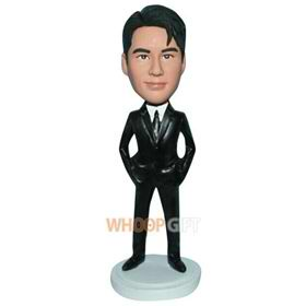 handsome man in black suit custom bobblehead
