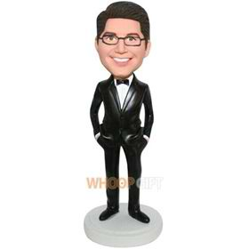 handsome groomsman in black suit matching with bowknot tie custom bobblehead