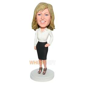 office lady in white T-shirt matching with black skirt custom bobblehead