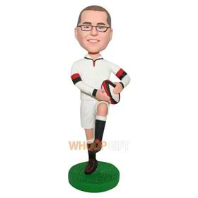man in white sports wear playing football custom bobblehead