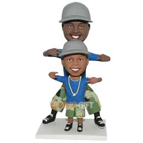 daddy and son are wearing same clothes custom bobblehead