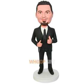 groomsman in black suit custom bobblehead