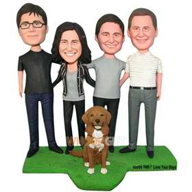 happy family whith their pet dog custom bobblehead