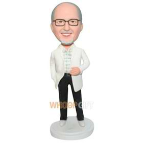 glasses man in white coat custom bobblehead