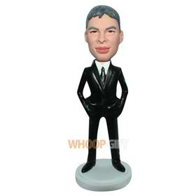 business man in black suit custom bobblehead