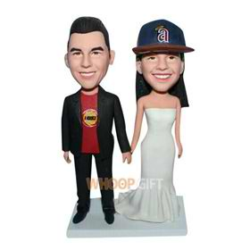 groom in black suit and bride in white wedding dress custom bobblehead