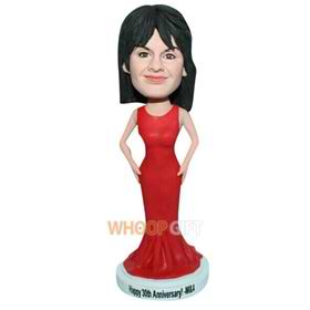 elegant lady in red long dress custom bobblehead