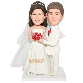 groom in white suit and bride in white wedding dress custom bobblehead