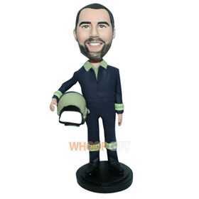 man in uniform handing a helmet custom bobblehead