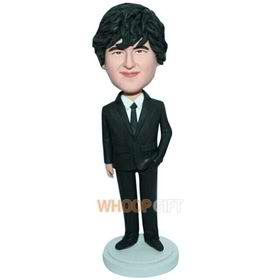young man in black suit custom bobblehead