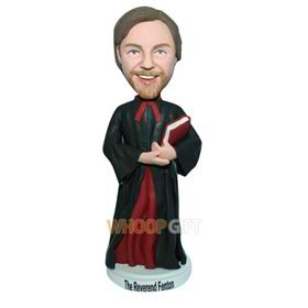 male priest in black long gown custom bobblehead