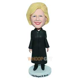 female judge in black long coat custom bobblehead